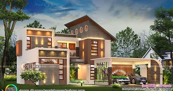 Beautiful 2165 Sq Ft Contemporary 4 Bhk House Rendering