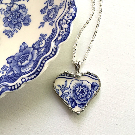 recycled china heart shaped necklace