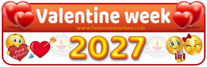 2027 Valentine Week List Calendar, 2027 Valentine Day All Dates & Day
