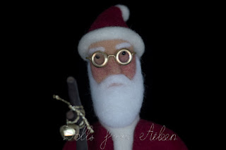 OOAK needle felted Santa Claus doll with glasses