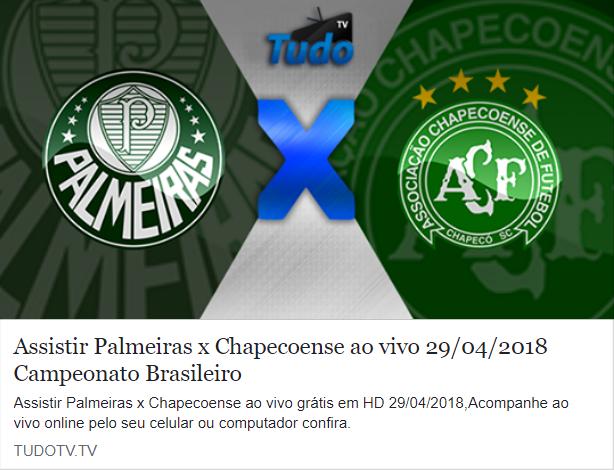 ASSISTIR PALMEIRAS X CHAPECOENSE AO VIVO 29/04/2018 CAMPEONATO BRASILEIRO