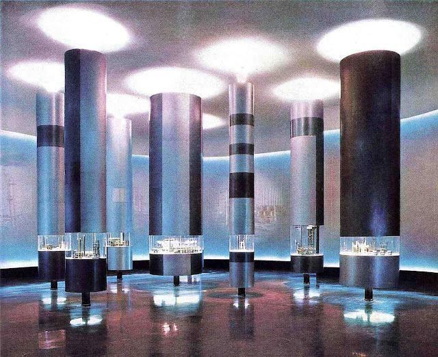 a color photograph of displays at the 1961 Milan Fair