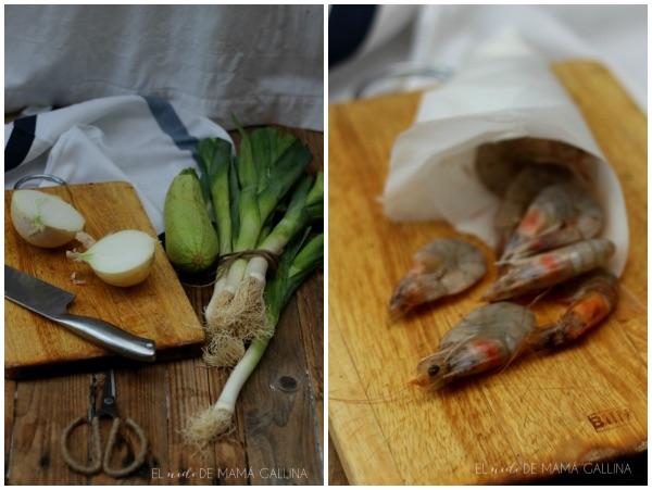 lasana de verduras, la preparación con cebolla, langostinos
