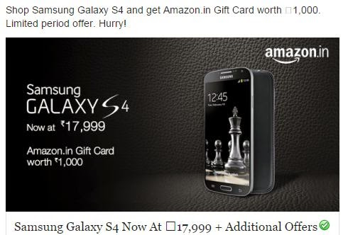 Buy Samsung Galaxy S4 at Cheapest Price Rs.17999 from Amazon with Offers and discount