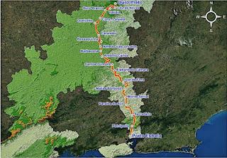 Mapa do Caminho Novo.  Fonte: IER.
