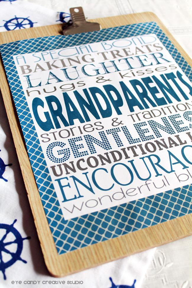 clipboard art, grandparents, papa, pops, special bond, subway art