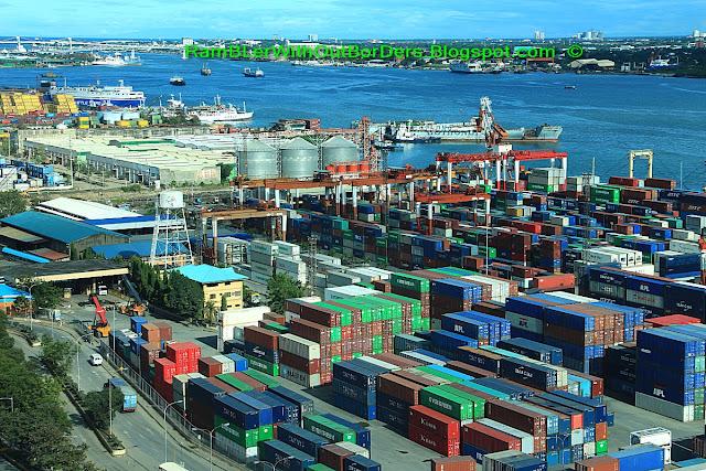 Aerial view, Container terminal, Radisson Blu Hotel, Cebu, Philippines