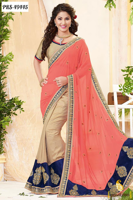 Akshra Hina Khan wedding season special cream georgette designer saree online shopping with great discount offer and sale at pavitraa.in