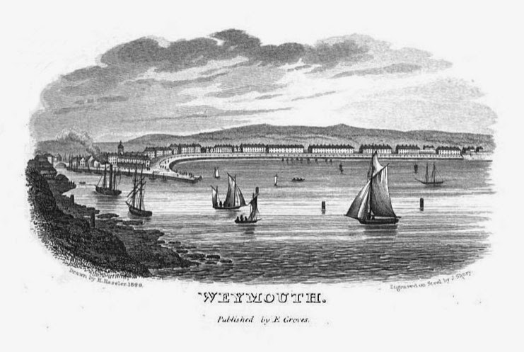 A view of Weymouth seafront from a Weymouth guidebook from 1835