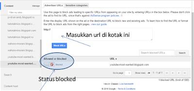 cara blocked iklan google adsense by url tertentu
