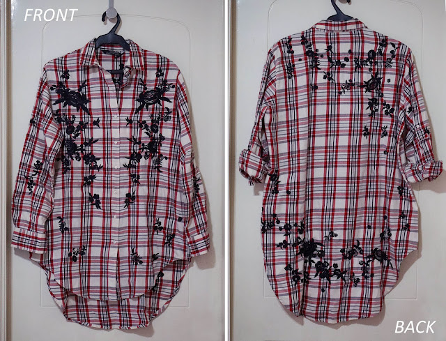 e713234eadb9 I got this plaid button down shirt which is actually long enough to be a  dress. What I love about it is the embroidery which extends even to the  back.