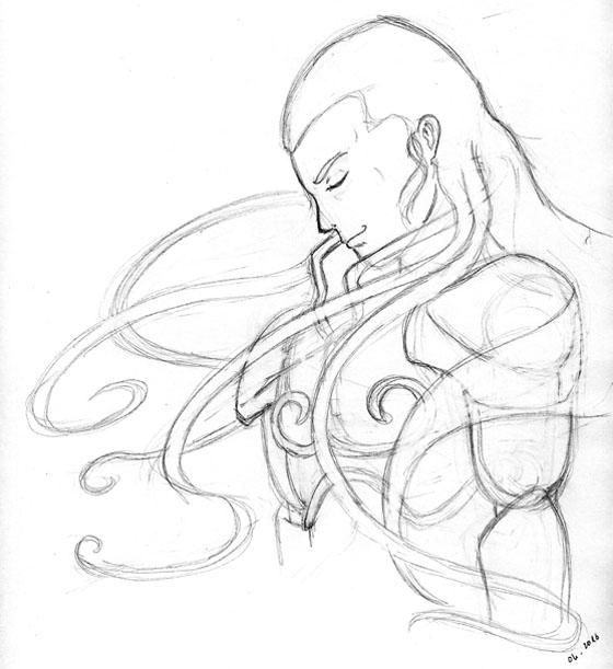 Dessin crayonné d'un chevalier en armure
