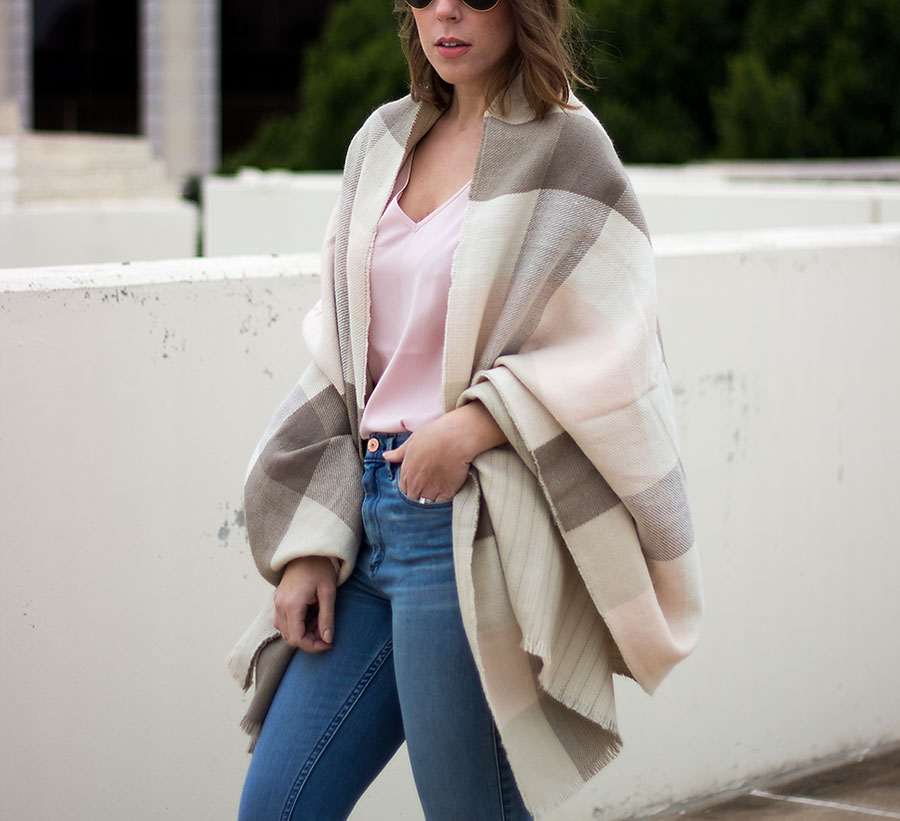 plaid blanket scarf, pink blanket scarf, how to style a blanket scarf, high waist jeans, how to style high waist jeans, how to wear a blanket scarf, blanket scarf outfit, winter fashion, winter fashion for women
