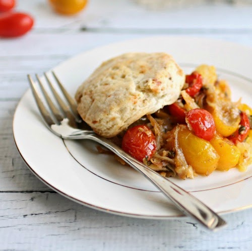 Savory Tomato Cobbler with Gorgonzola Biscuits