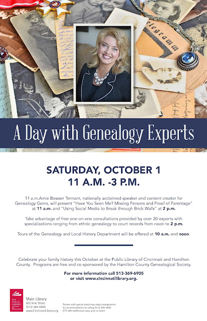 A Day with Genealogy Experts -- October 1st