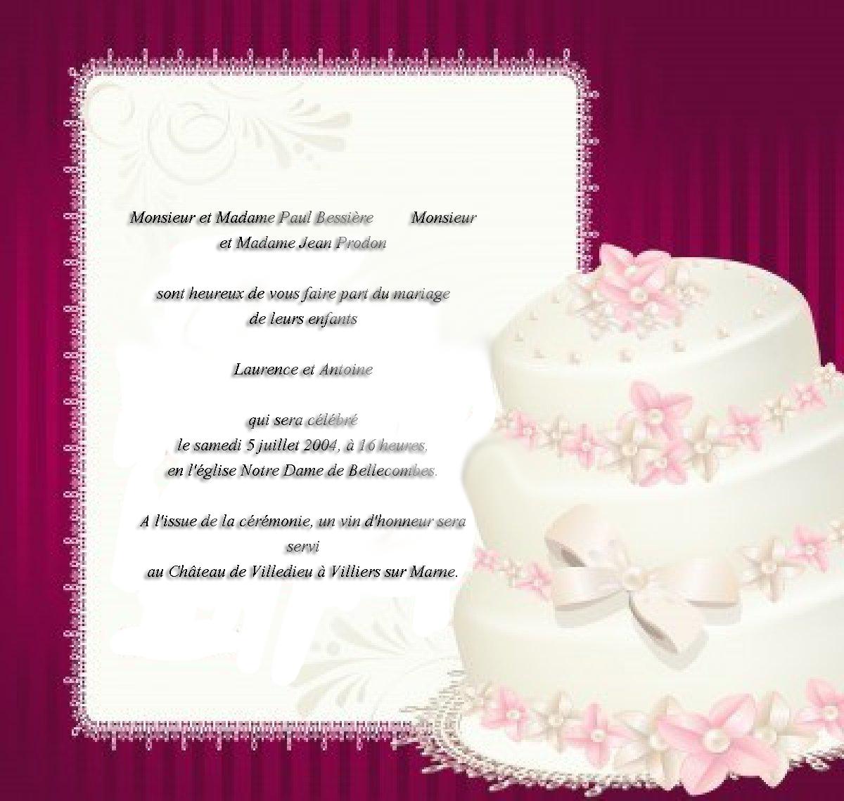 mai 2013 invitation mariage carte mariage texte. Black Bedroom Furniture Sets. Home Design Ideas