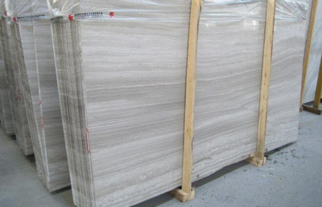 White Wood Vein Marble Slabs