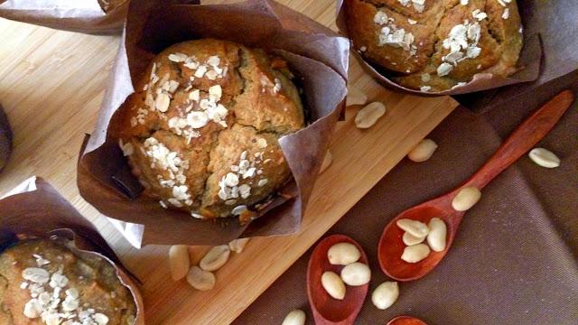 mufins mantequilla de cacahuete plátano maní crema lorraine pascale desayuno merienda postre healthy fit receta magdalenas fácil sencilla