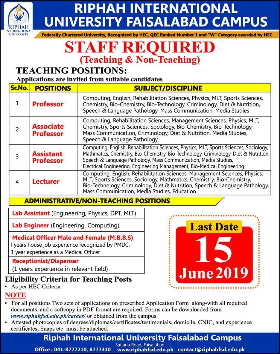 Jobs in Riphah International University, Faisalabad - Jobs in Pakistan