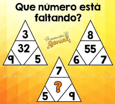 Qual número está faltando no triângulo?