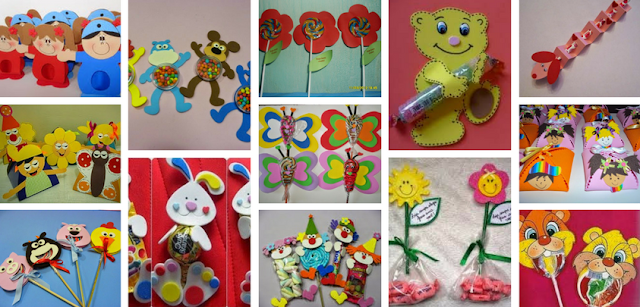 24 sugestões de lembrancinhas que podem servir muito bem para o primeiro dia de aula ou dia das crianças com moldes em EVA