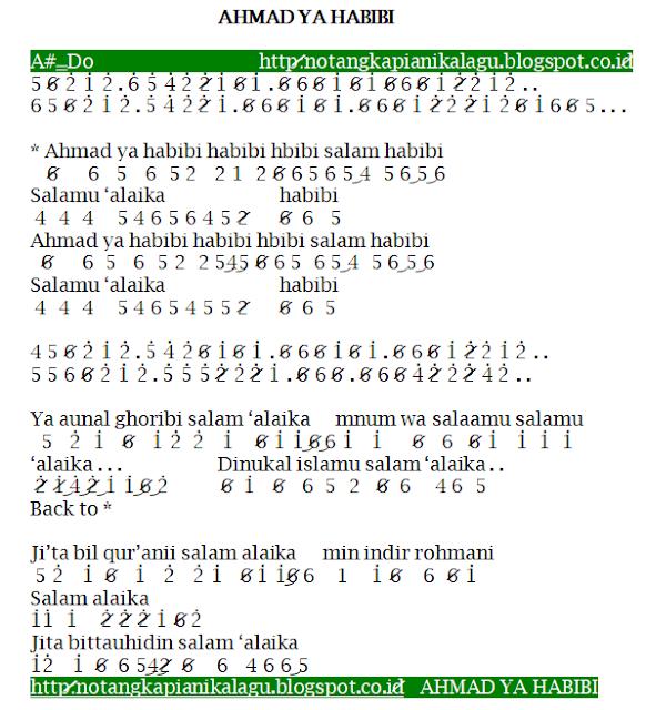 Not Angka Pianika Lagu Ahmad ya Habibi