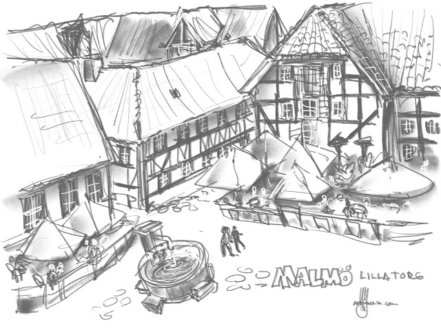 Lilla torg Malmö. Urban sketch by Ulf Artmagenta
