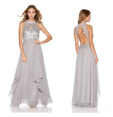 Quiz Light Grey Chiffon High Neck Lace Waterfall Maxi Dress
