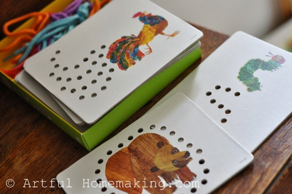 Fine Motor Coordination: Keeping Little Ones Hands Busy. Eric Carle lacing cards