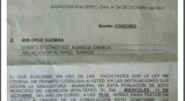 Citan a declarar a una niña por criticar en Facebook el desvío de ayuda humanitaria en Oaxaca