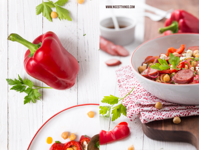 Paprika Food Photography und Kichererbsensalat mit Feta, Paprika und Wurst