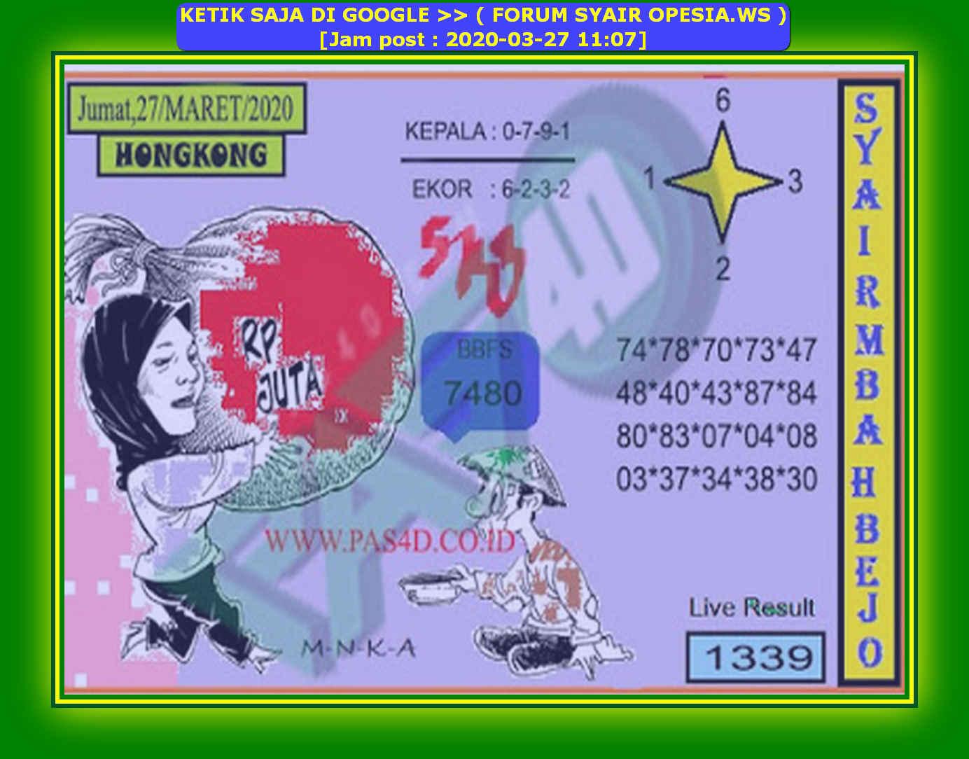 Kode syair Hongkong Jumat 27 Maret 2020 118