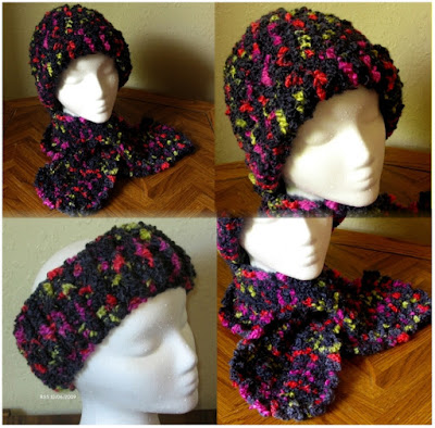Black Multi-Color Hat, Scarf and Headband Set - Handmade By RSS Designs In Fiber