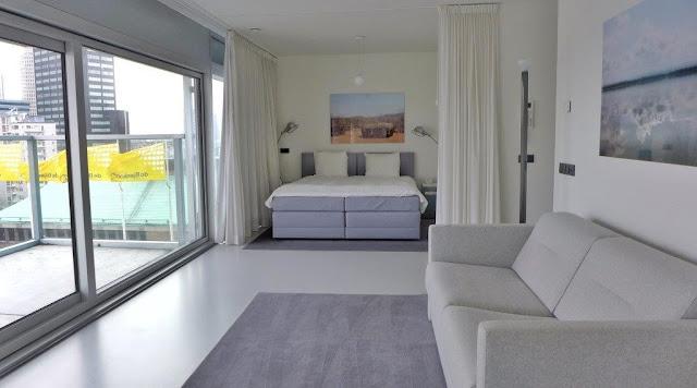 Zona habitación dormitorio en apartamento del apartotel Urban Residences en Rotterdam