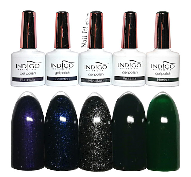 Indigo Nails new metallic colors and dark green colors SWATCHES - Paranoia, Galactica, Metallizer, Predator, Heniek