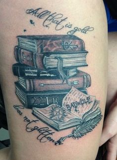 Sexy Thigh Book Tattoos