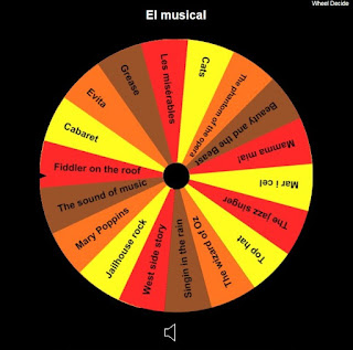 http://wheeldecide.com/index.php?c1=The+jazz+singer&c2=Top+hat&c3=The+wizard+of+Oz&c4=Singin+in+the+rain&c5=West+side+story&c6=Jailhouse+rock&c7=Mary+Poppins&c8=The+sound+of+music+&c9=Fiddler+on+the+roof&c10=Cabaret&c11=Evita&c12=Grease&c13=Les+mis%C3%A9rables&c14=Cats&c15=The+phantom+of+the+opera&c16=Beauty+and+the+Beast&c17=Mamma+mia!&c18=Mar+i+cel&col=fall&t=El+musical&remove=&time=5&cols=&tcol=&width=&weights=