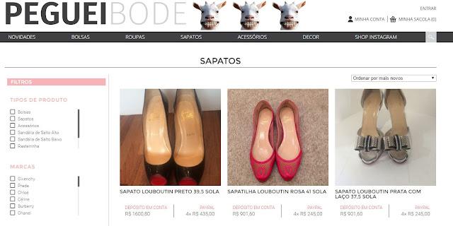Site Peguei Bode sapatos festa, mercado de luxo