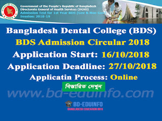 Bangladesh Dental College (BDS) Admission Test Circular 2018-2019