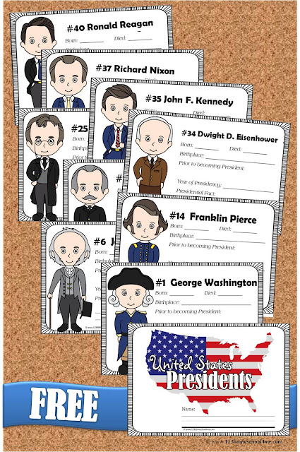 FREE Presdients Fact Book for kids - Super cute book with cute president clipart for each of the 44 presidents and space to write in facts for each president. LOVE this resource for homeschool social studies 1st grade, 2nd grade, 3rd grade, 4th grade, 5th grade, and 6th grade