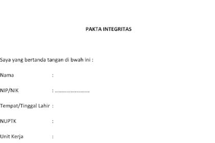Contoh Pakta Integritas Pemberkasan PPG