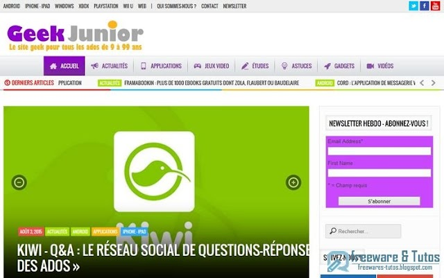 Le site du jour : Geek Junior