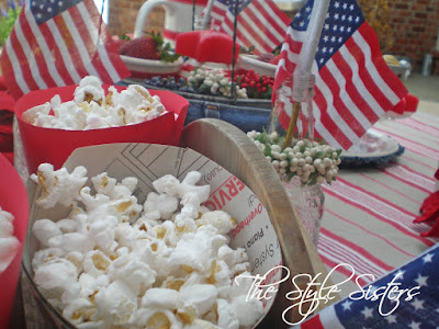 Red white and blue table decorations, Red white and blue tablescape