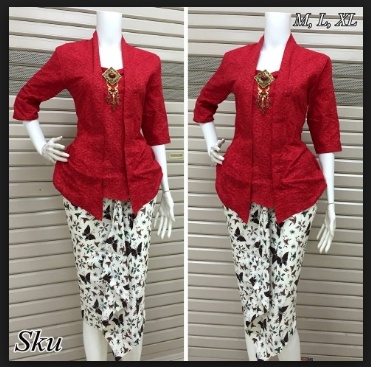 Model blouse bawahn rok batik lengan panjang