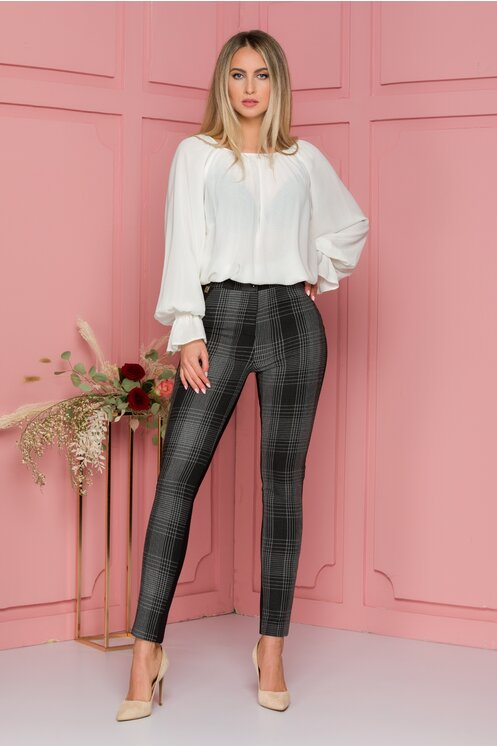Pantaloni dama slim negri cu carouri si elastic in talie
