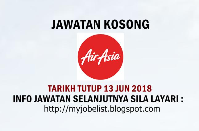 Jawatan Kosong di AirAsia Berhad Jun 2018