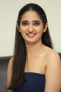 Radhika Mehrotra in sleevless Strap less Blue Gown At Prema Entha Madhuram Priyuraalu Antha Katinam Movie Interview