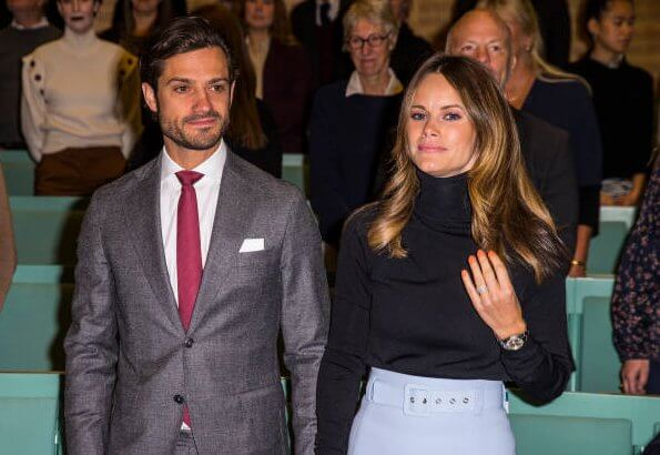 Princess Sofia wore a new classic coat from 2ND Day and a belted pencil skirt from Hugo Boss