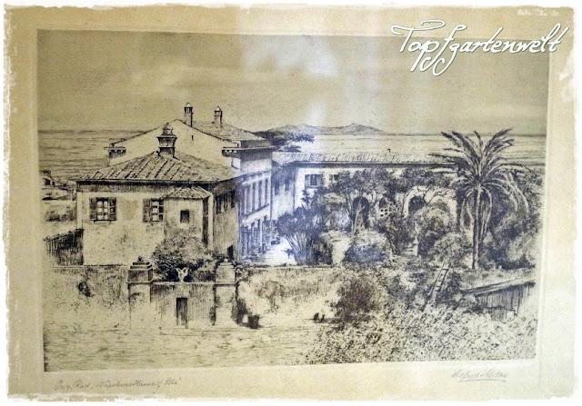 Stich Villa von Napoleon auf Elba