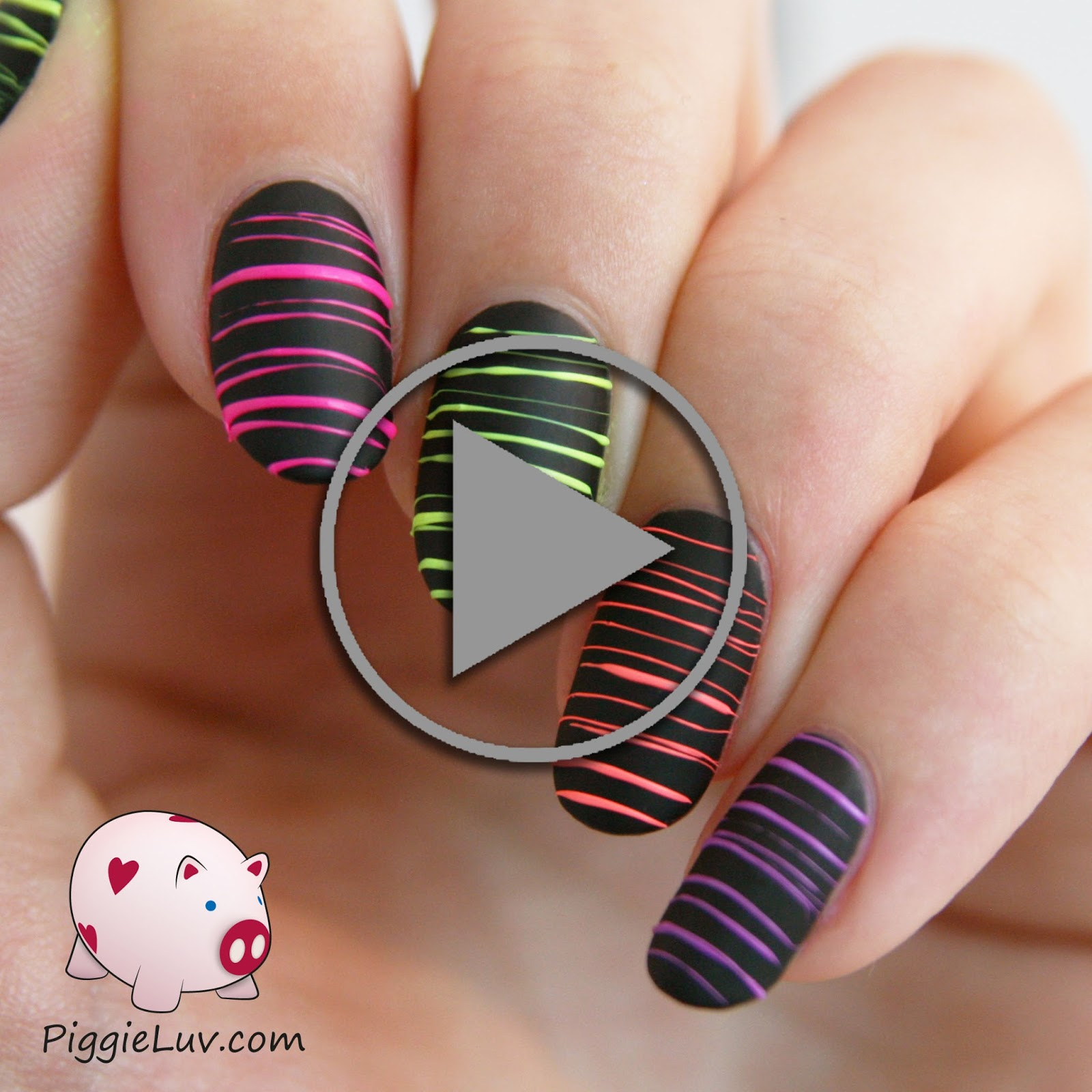 PiggieLuv: Video tutorial: neon sugar spun nail art